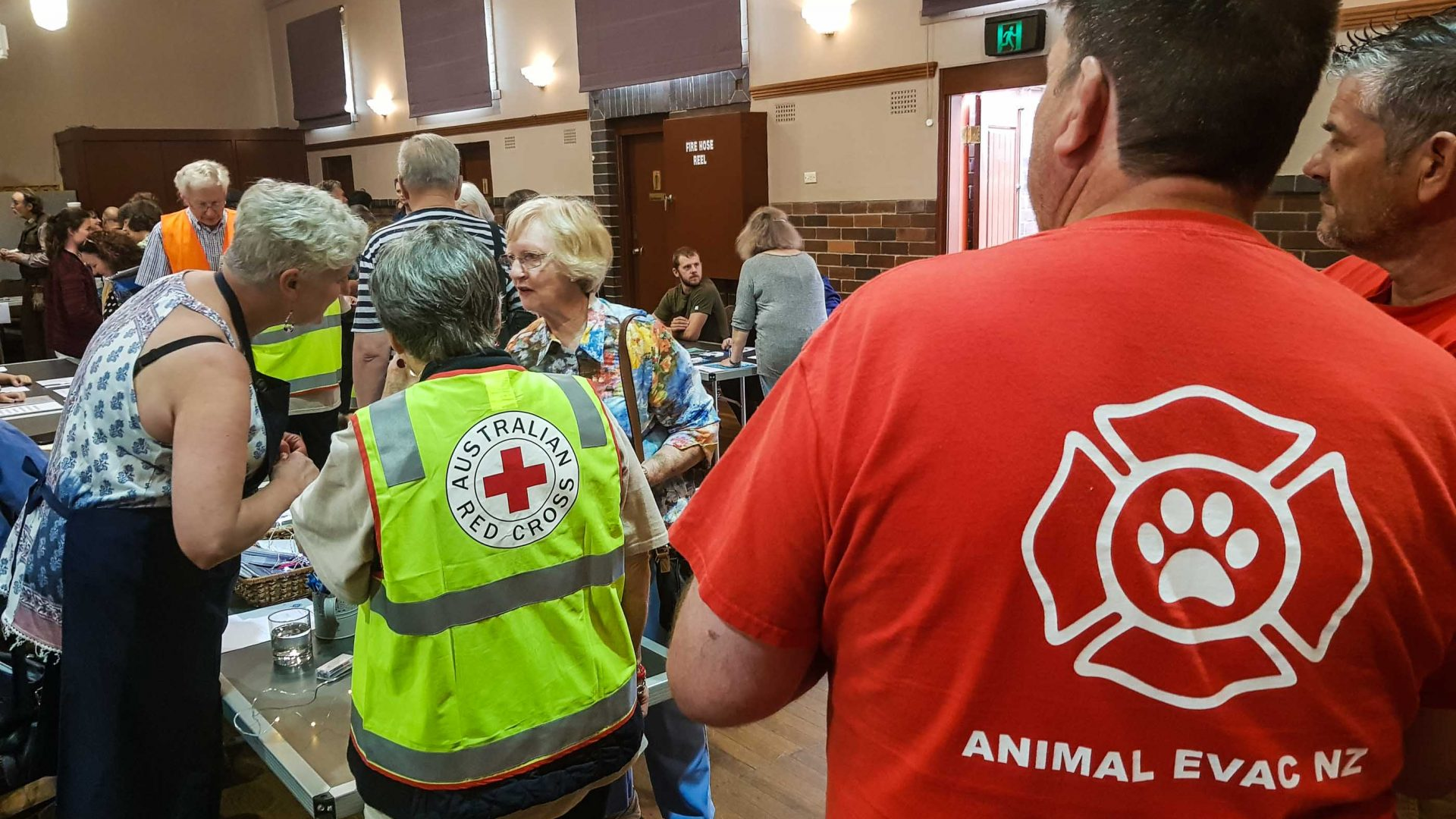 Staff and volunteers at the Bundanoon Readiness Expo, during the fire threat.