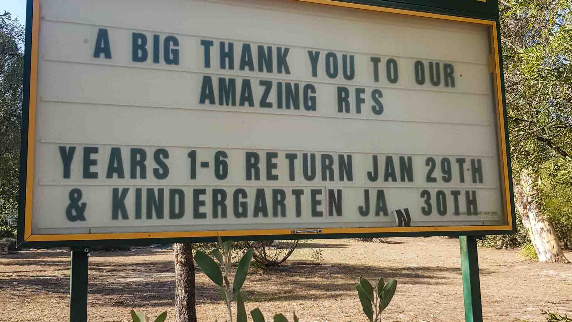 A thank-you message at Penrose School, near Bundanoon, on the first day back from the summer holidays.