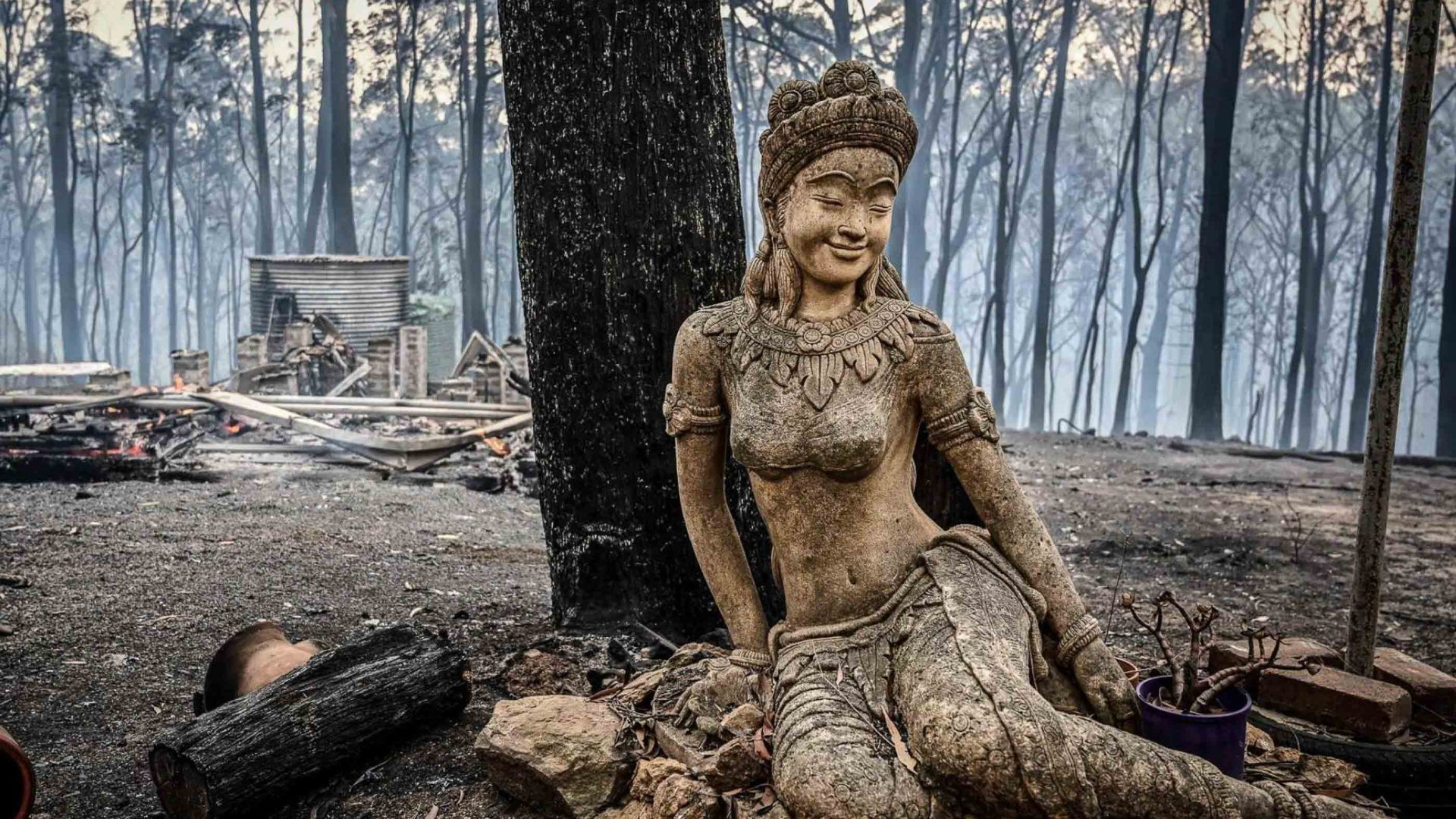 A statue in burnt forest at Sunnataram Monastery near Bundanoon.