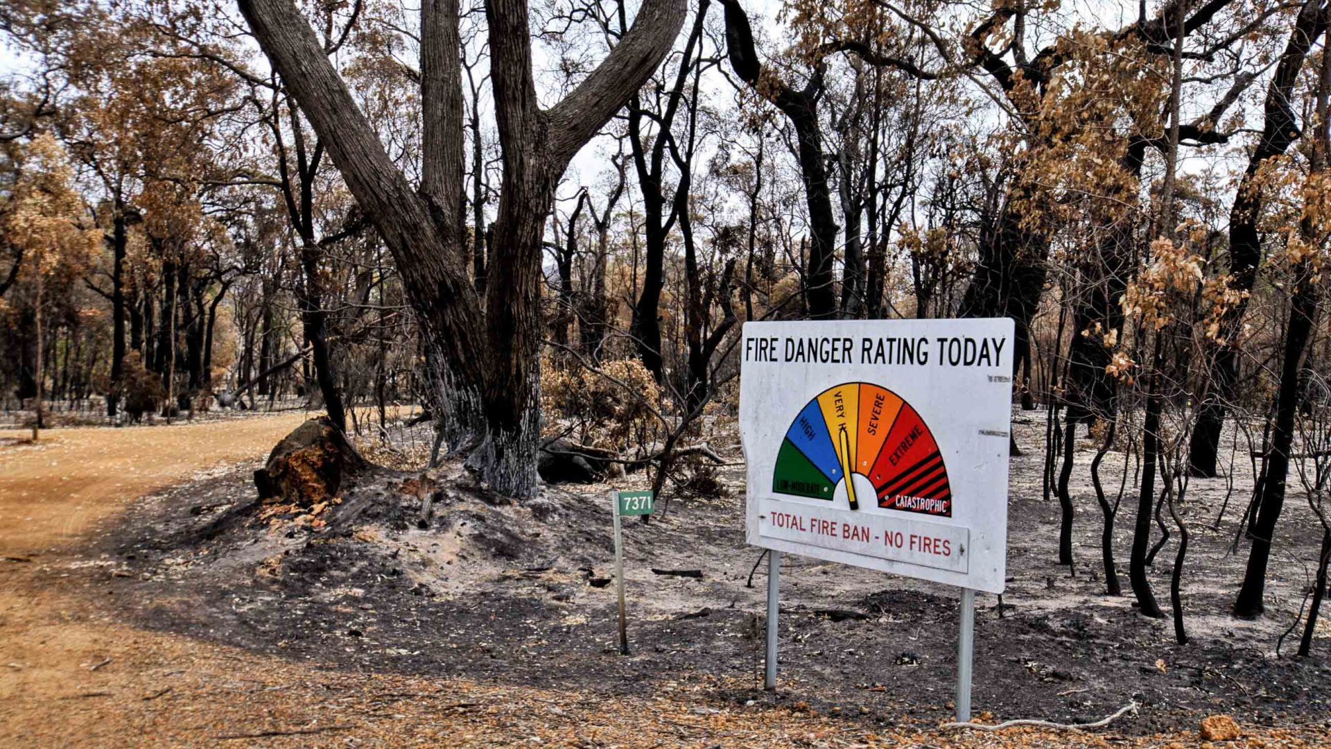 A fire danger board indicating the level of fire danger on any particular day.
