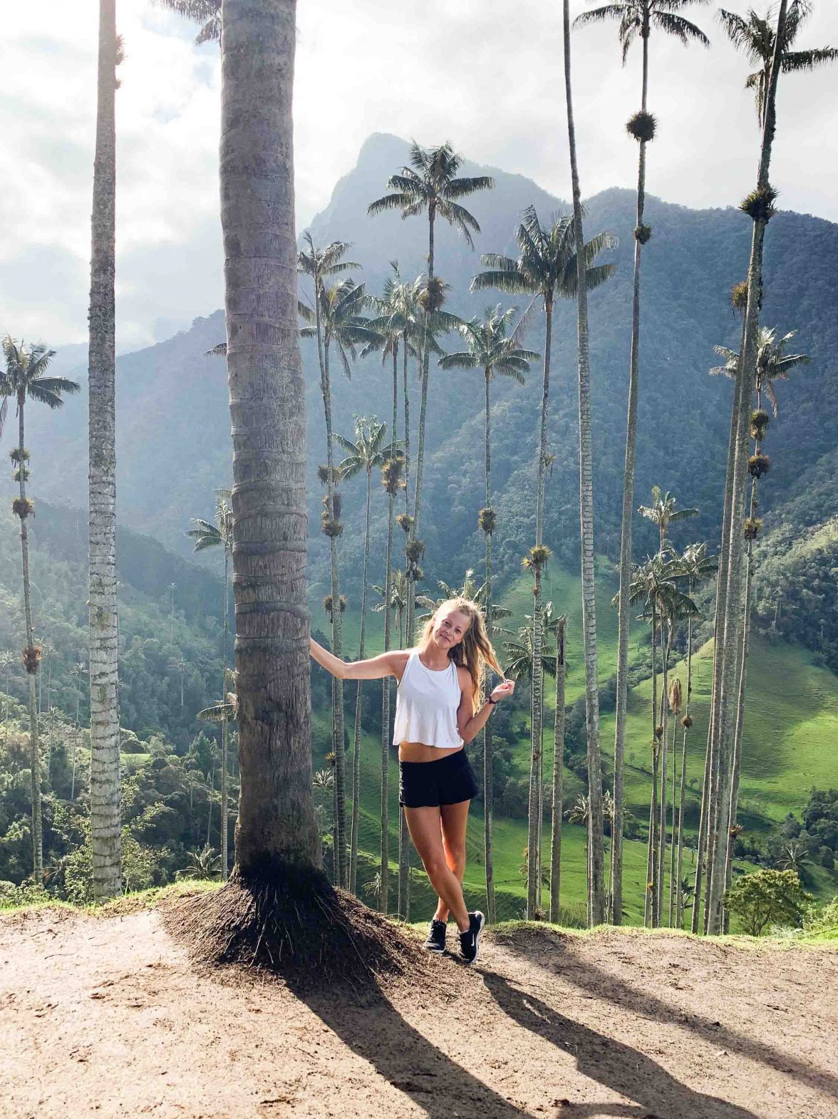 Solo traveler Kellie Paxian in the Cocora Valley in Colombia.