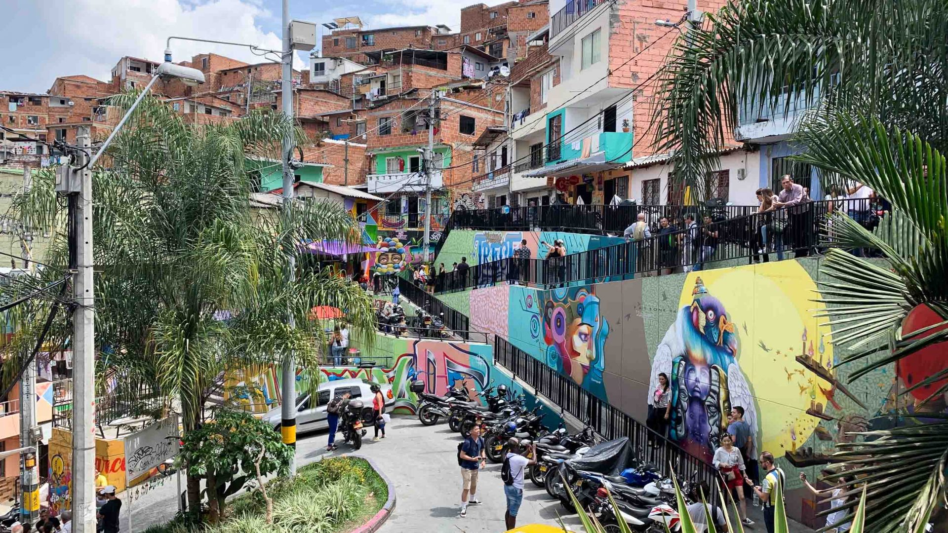 Solo travel: One of the colorful streets in Comuna 13 in Medellín, Colombia.