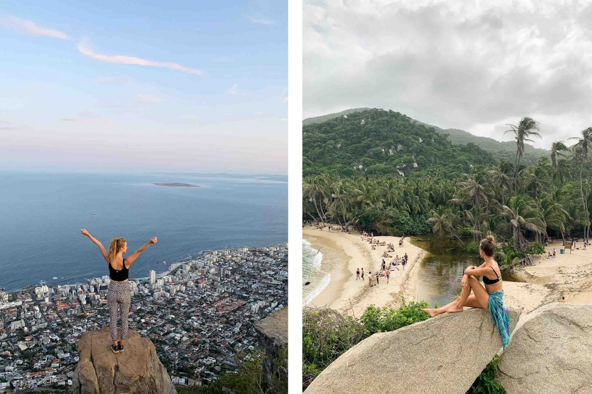 Solo traveler Kellie Paxian at Lions Head in Capetown, South Africa (left) and in Tayrona, Colombia (right).