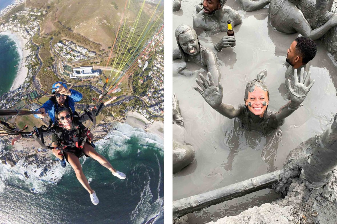 Solo traveler Kellie Paxian paragliding at Lions Head in South Africa (left) and in a mud volcano (right).