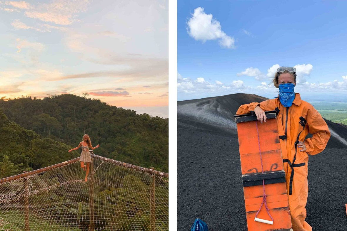 Solo traveler Kellie Paxian in Minca, Columbia (left) and volcano boarding in Nicaragua (right).