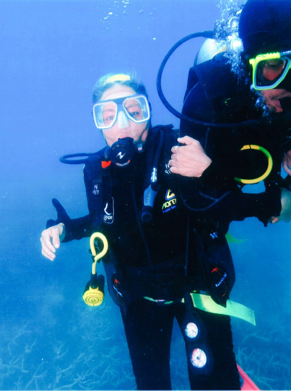Sudha scuba-diving at the Great Barrier Reef near Cairns, Australia.