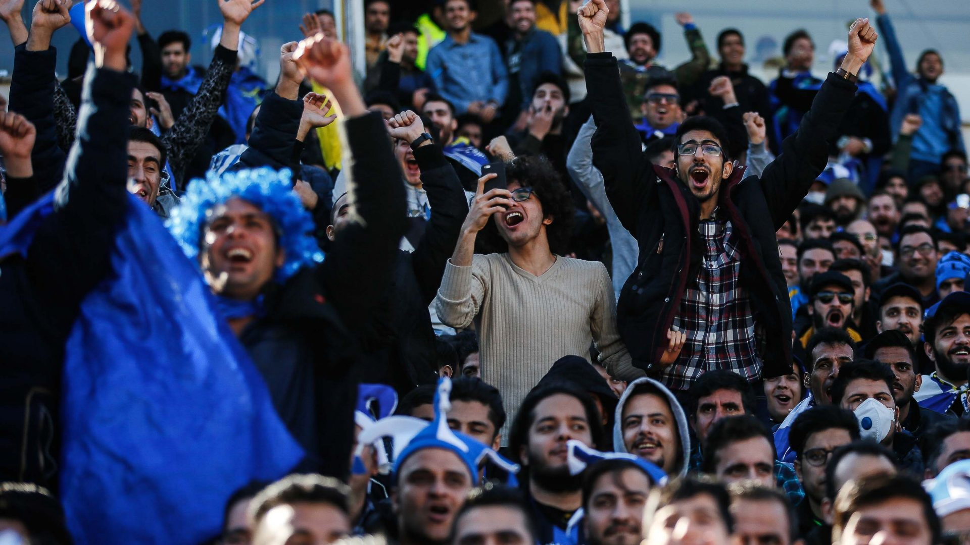 Enthusiastic Esteghlal fans at the Tehran Derby.