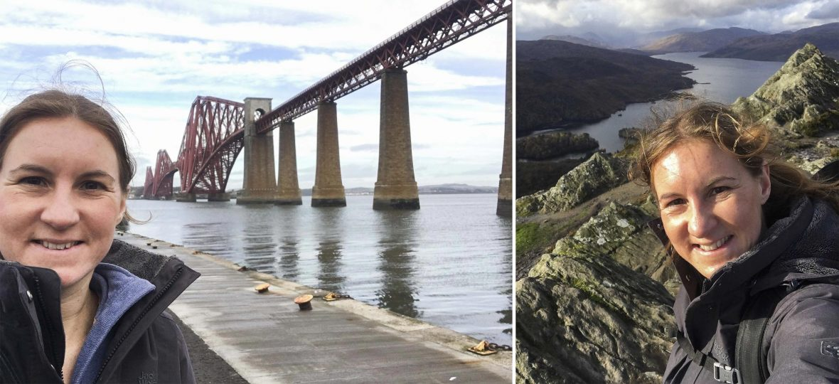 Left: Helen Ochyra by the Forth Rail Bridge; Right: The author at the top of Ben A'an in the Trossachs.