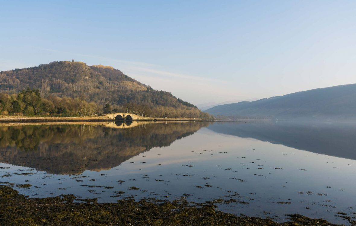 Inveraray, a town in Argyll and Bute, Scotland, on the western shore of Loch Fyne.