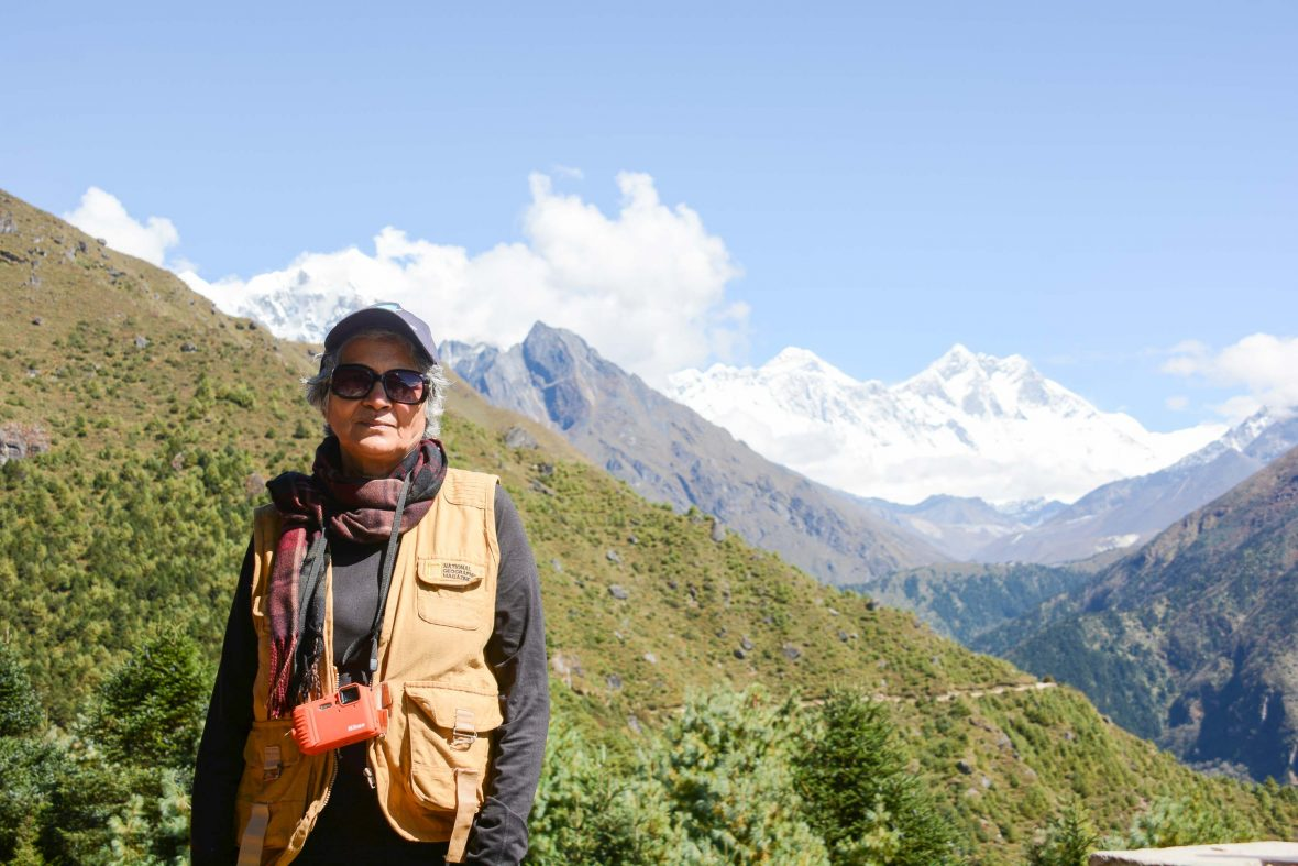 Everest Base Camp trek: Namche Bazar with Everest in the background