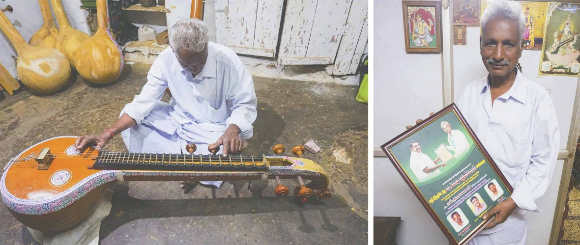Two photos. First of Narayanan fine-tuning a veena. Second of Narayanan holding a certificate for craftmanship.