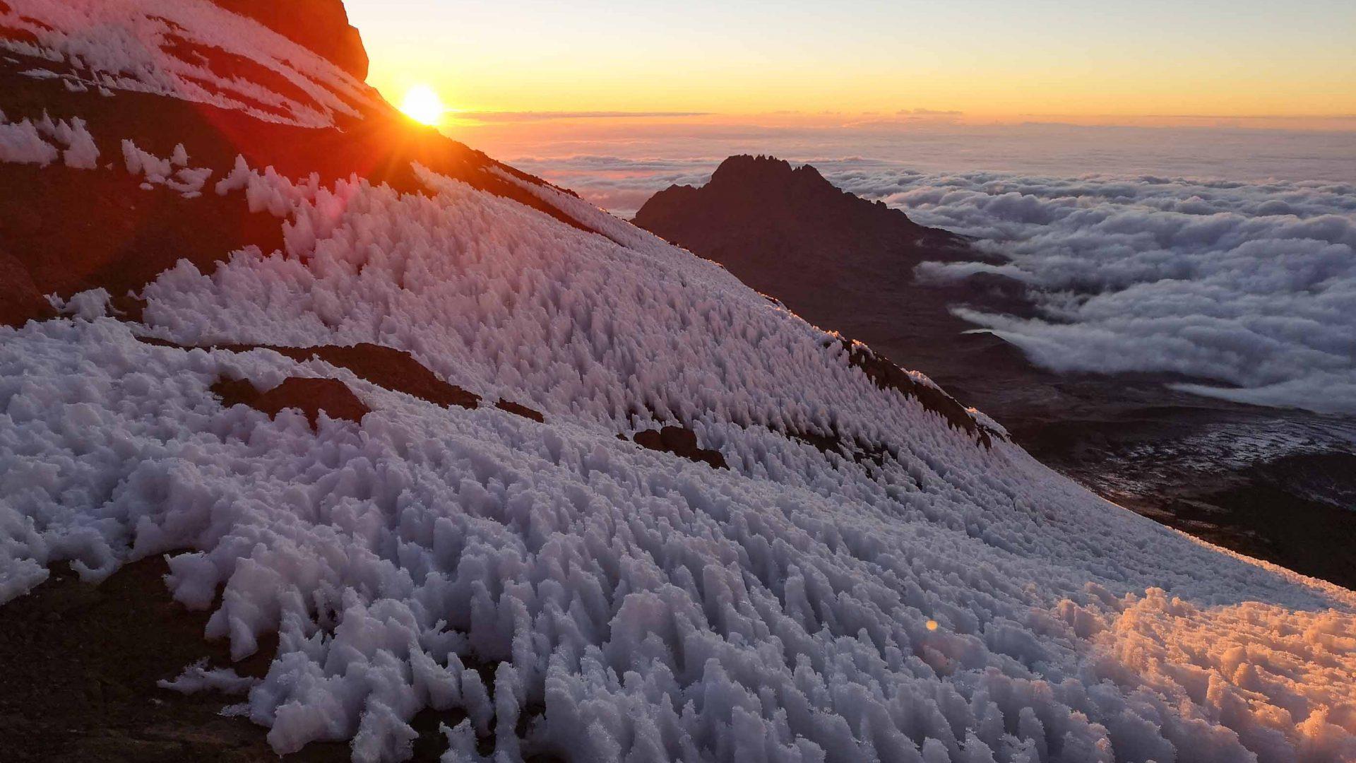 Sunrise at the top of Mount Kilimanjaro.