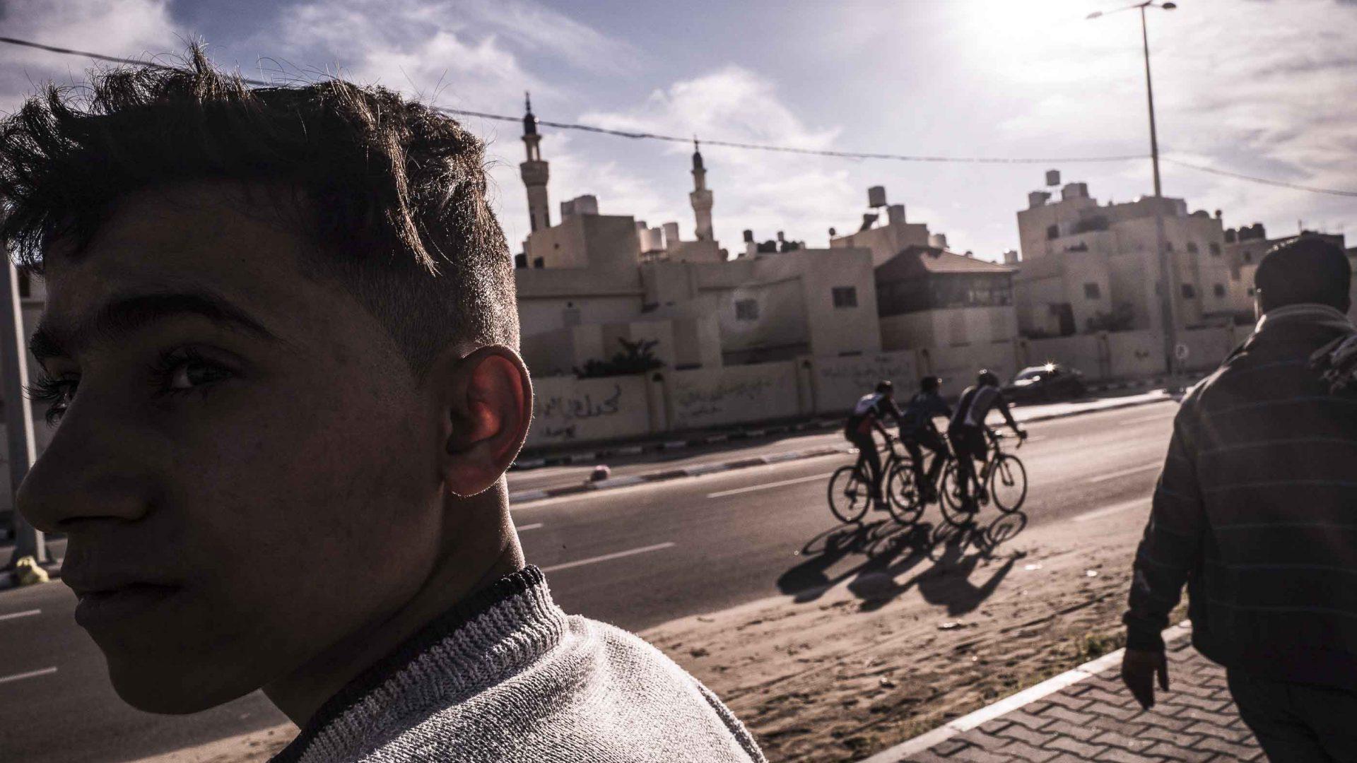 Cyclists in Gaza.