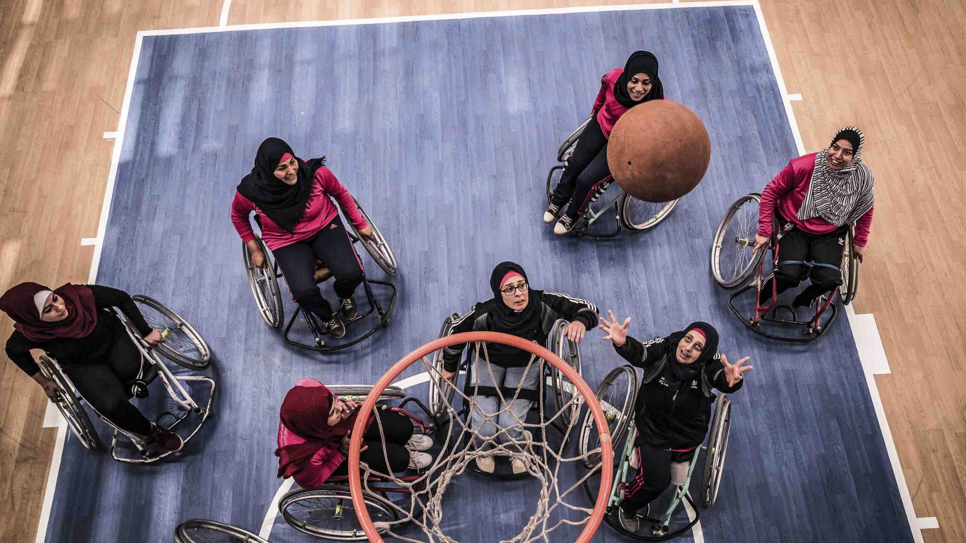Players from the women's wheelchair basketball team.