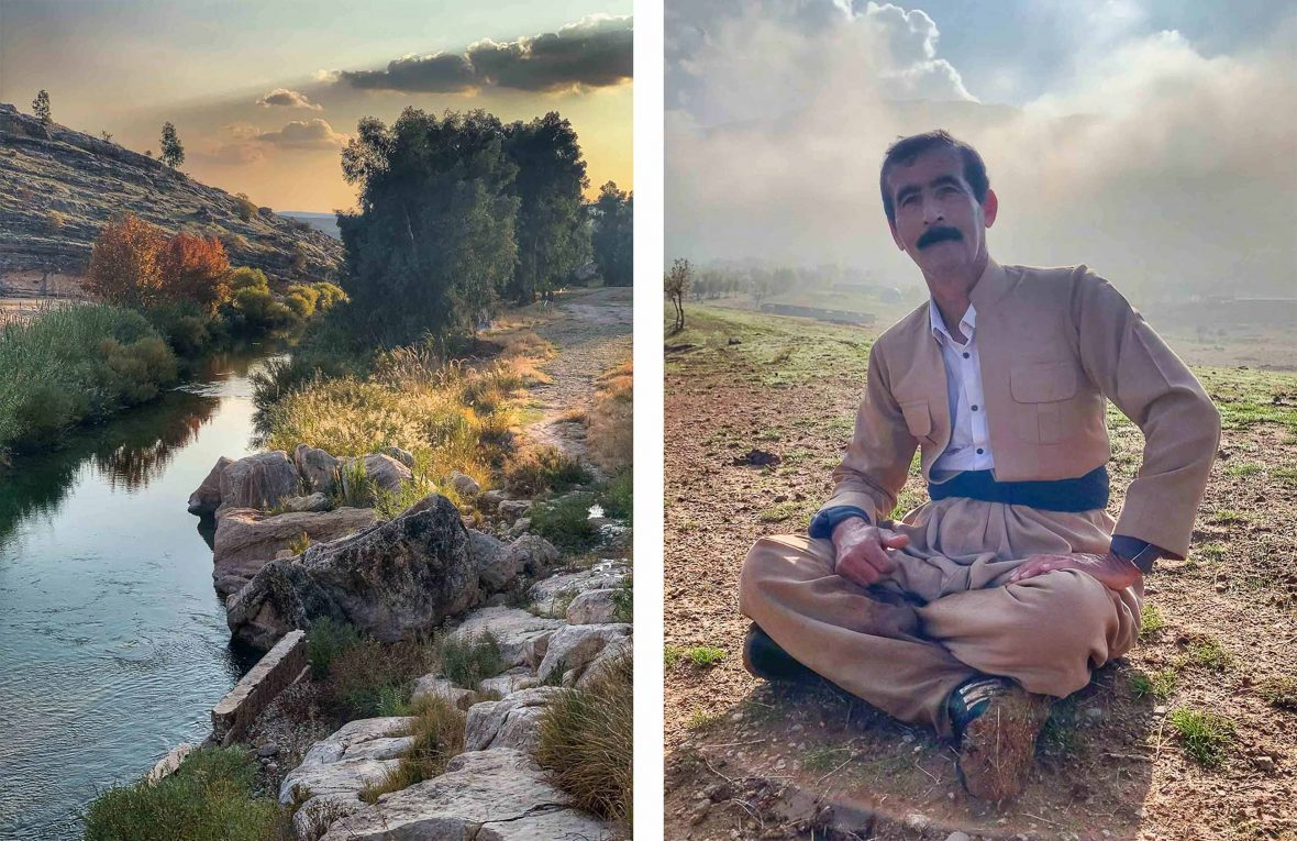 Two photos. One showing a river, trees and sunset, and the second showing a portrait of the guide looking to camera.