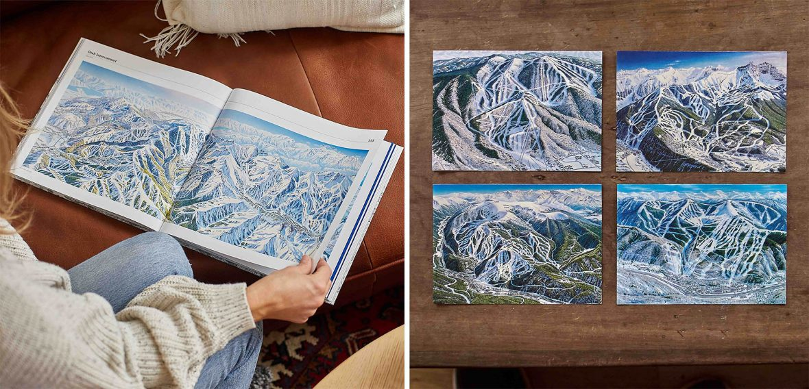 The book 'The man behind the maps' and notecards of the illustrations James has drawn.