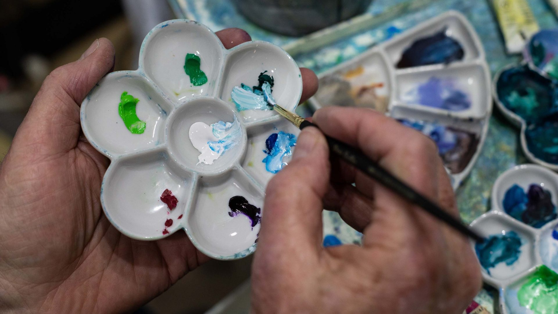 Paints the James uses in his studio.