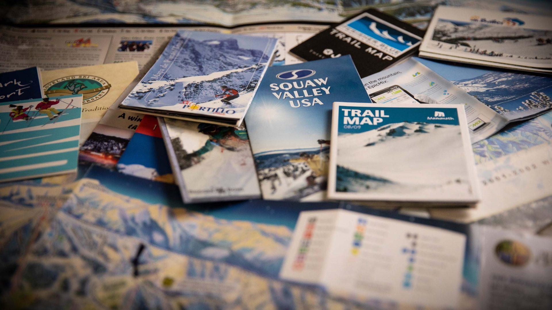 Trail maps full of James's illustrations.