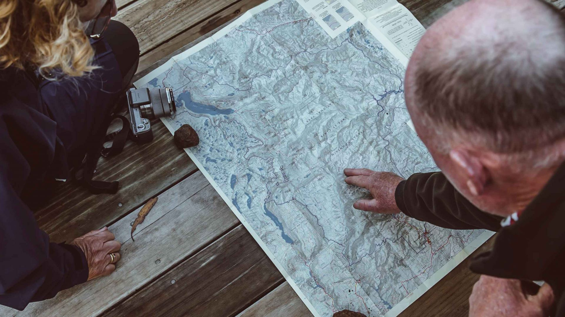 Reading the overland trail map.