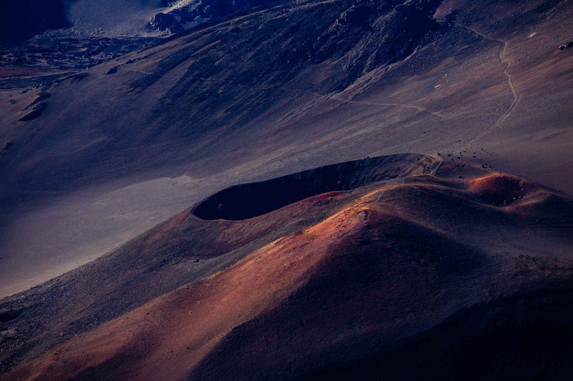 Haleakalā, or the East Maui Volcano, in Hawaii, bathed in soft light.