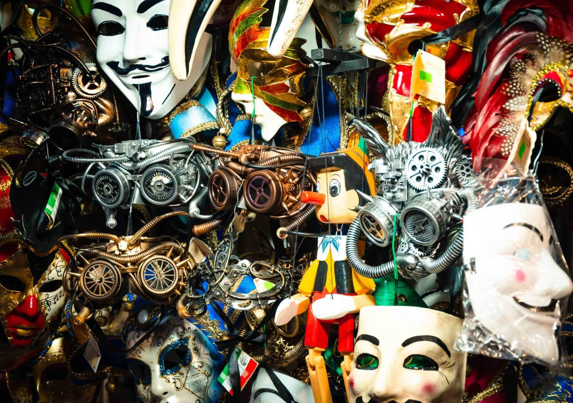 Masks and other items for sale in Venice.