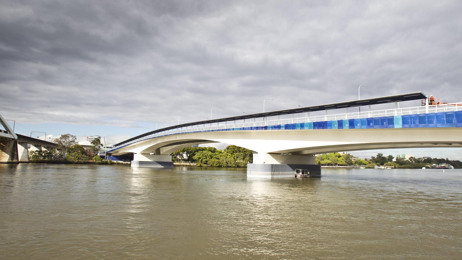 The bridge over the river.