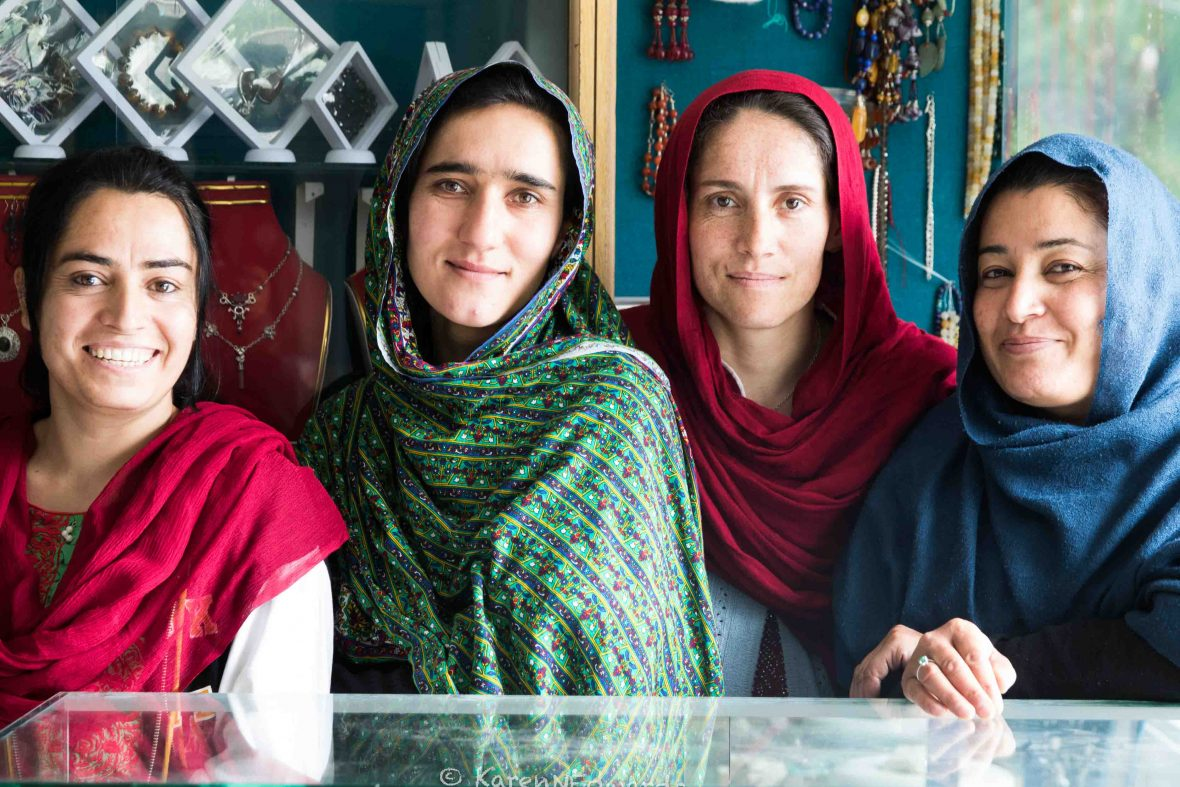 Gazhala, Nasreen, Jamila and Ambreem pose for a photo in their store.