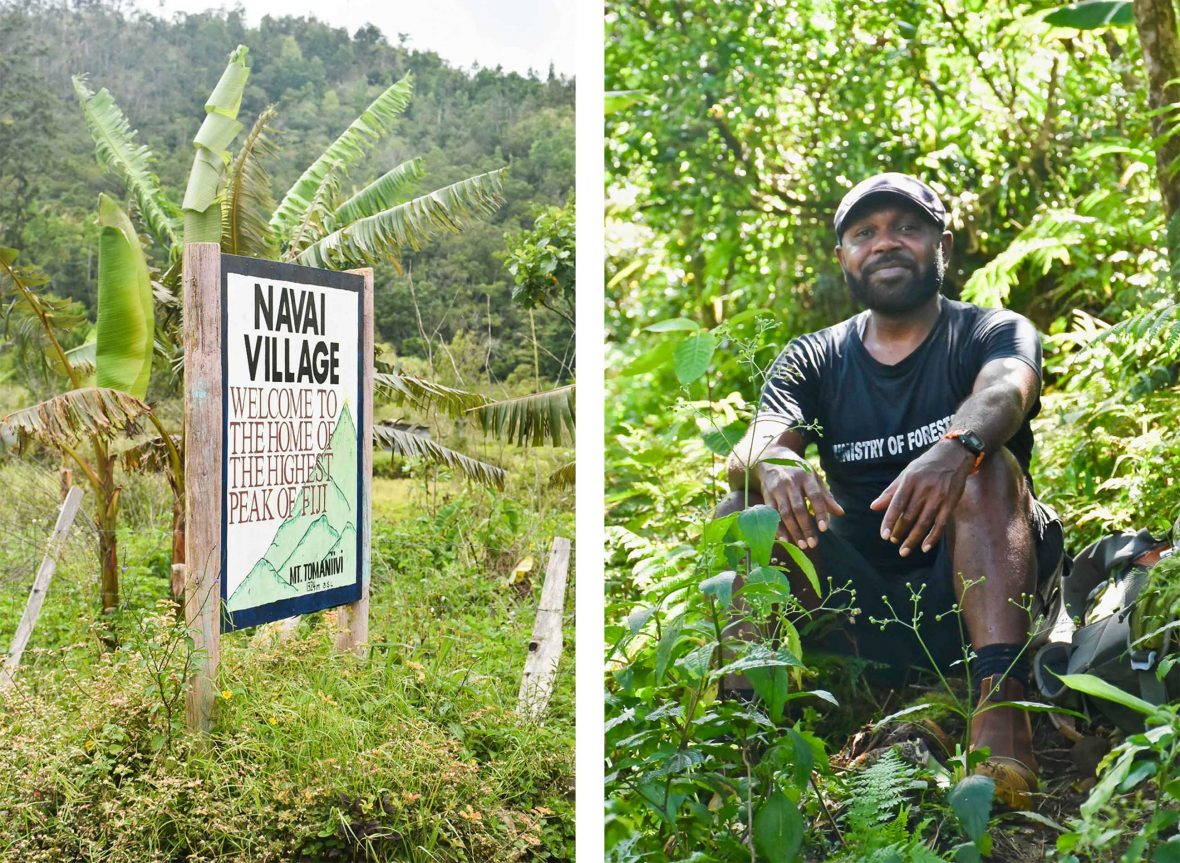 A sign to the village and a portrait of the guide, Meli.