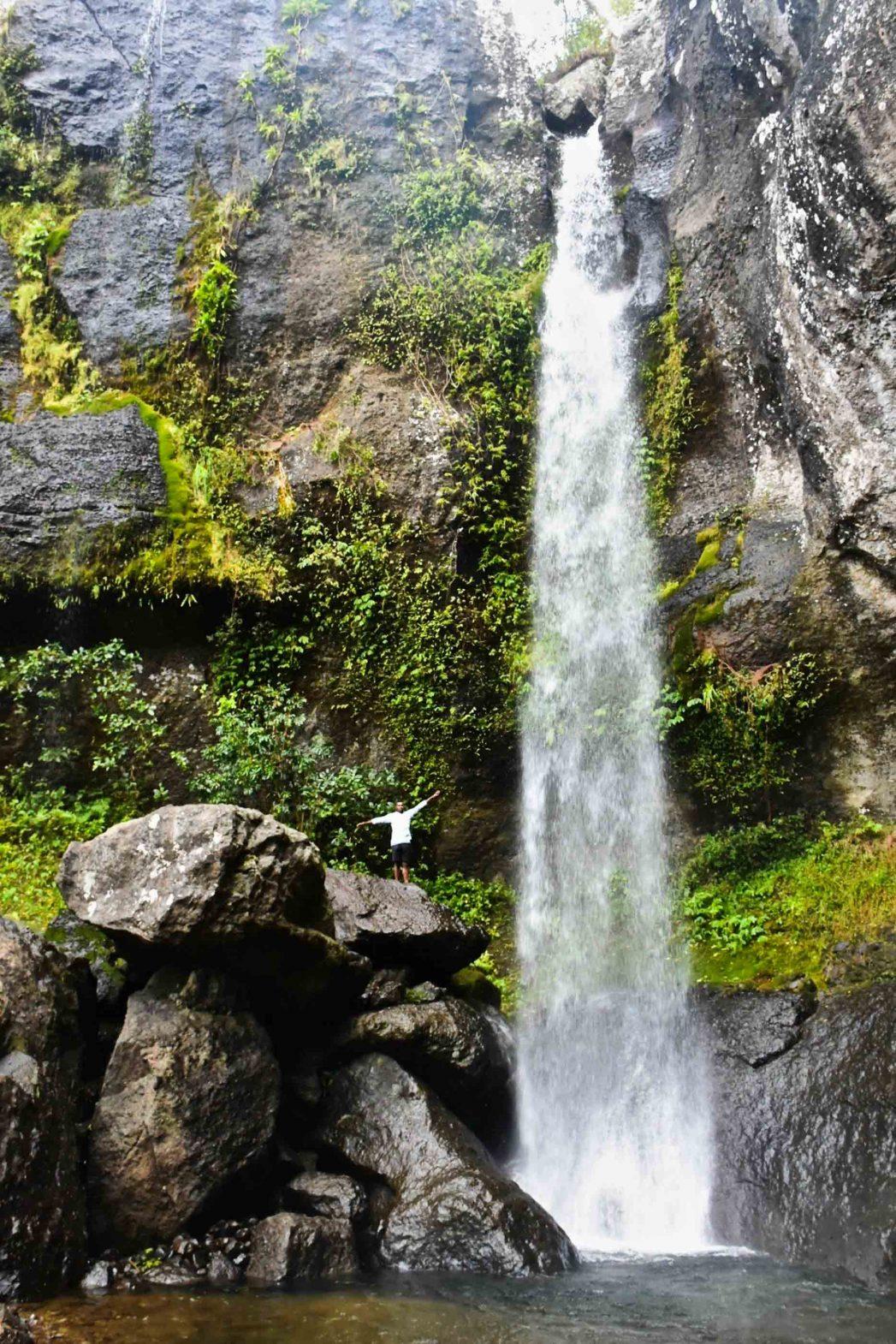 A dramatic waterfall.