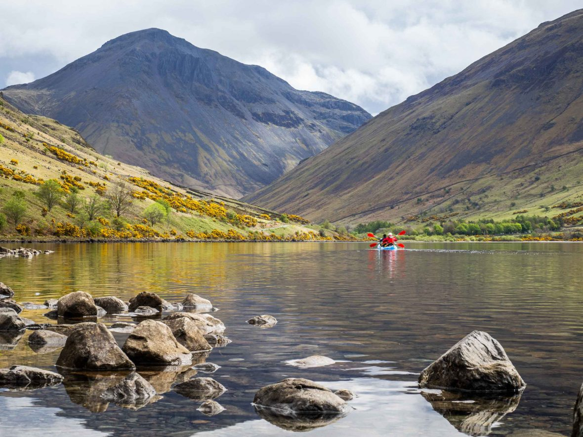 Kirk Fell and Scafell from Wast Water with kayakers