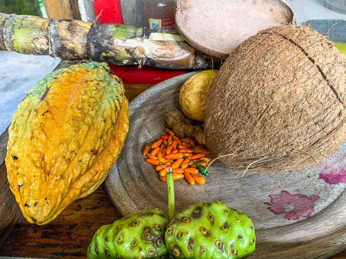The classic raw Ingredients of Ital cuisine including the coconut
