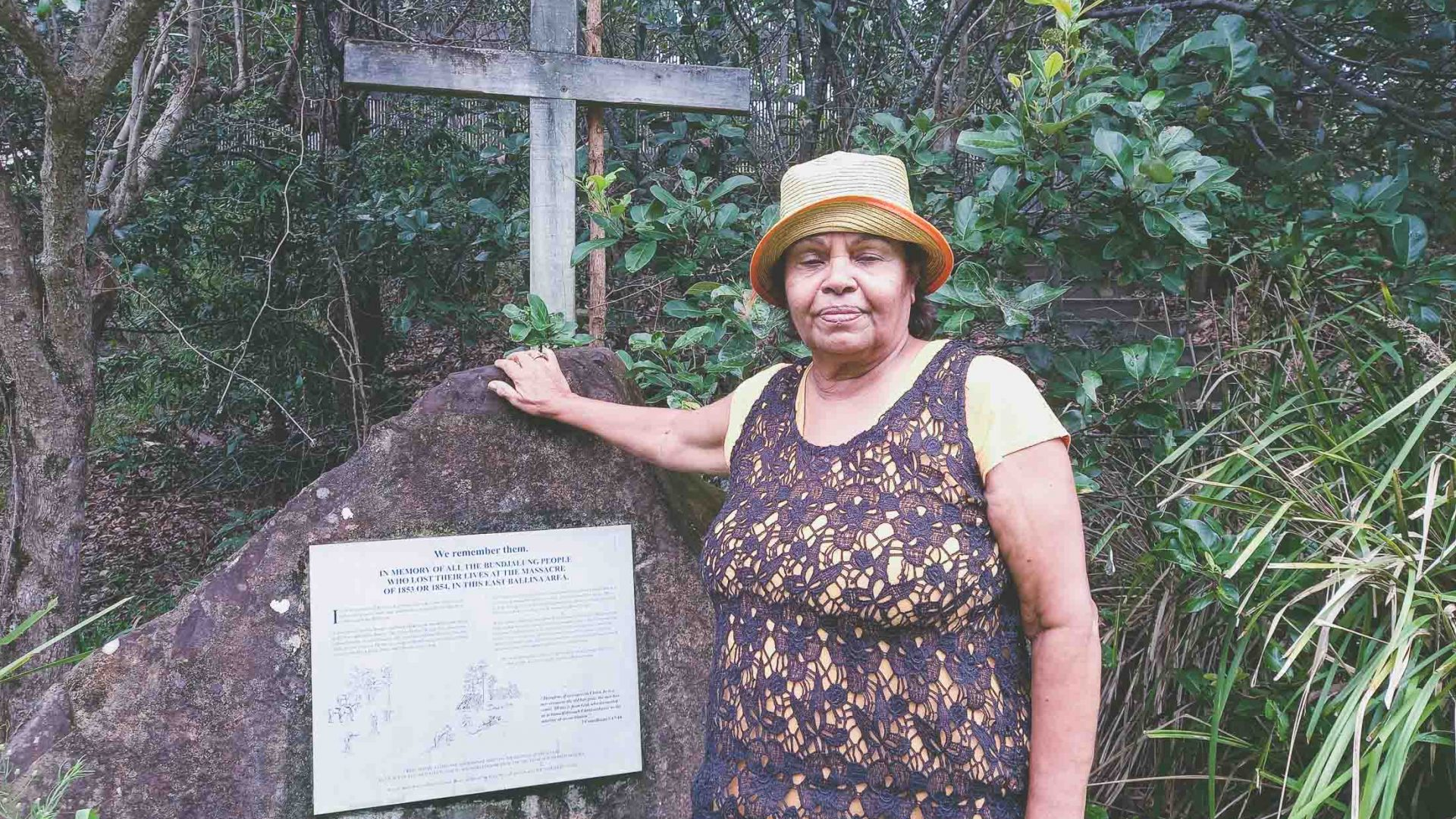Aunty Lois at a site remembering Indigenous people who lost their lives in a massacre. who