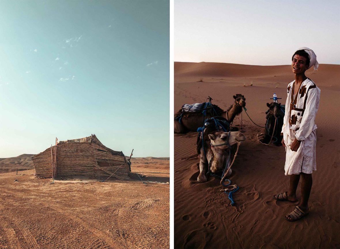 Left: A Berber house in the desert in Morocco. Right: A camel handler.