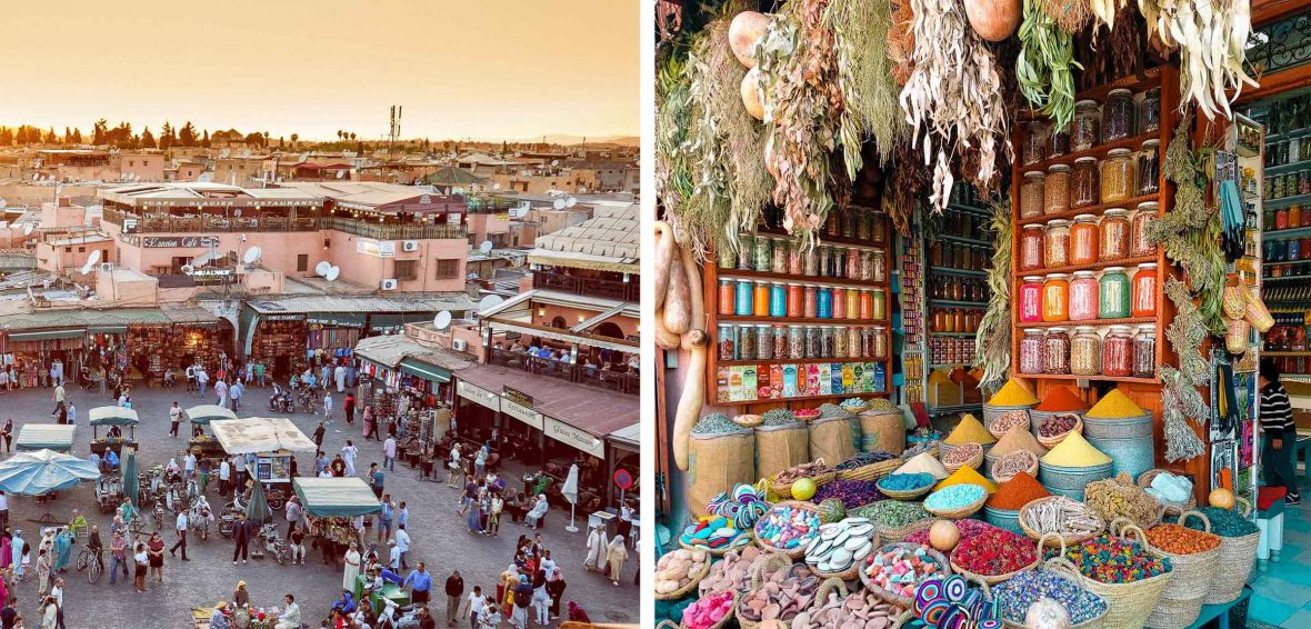 A market on the left and spices for sale on the right.