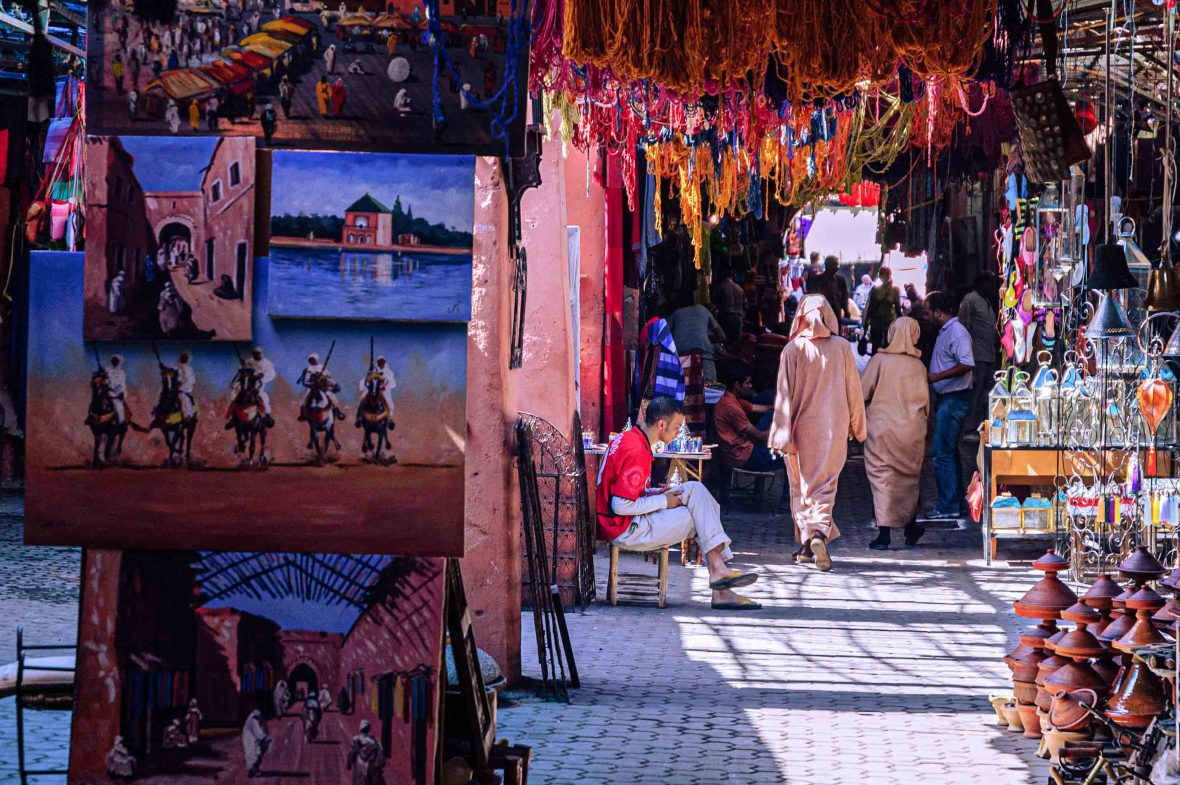 The entry to a colorful market in Morocco.