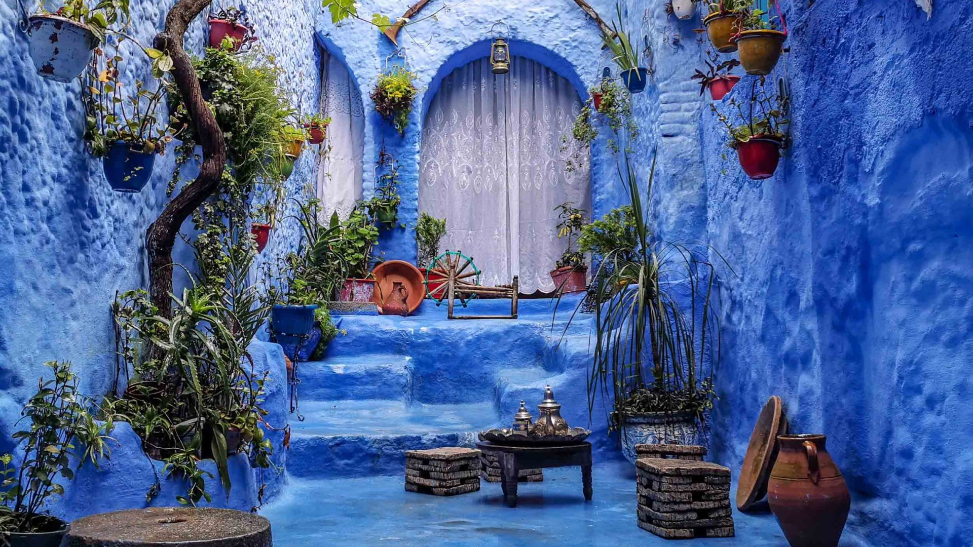 The entry to a blue home in Chefchaouen, Morocco