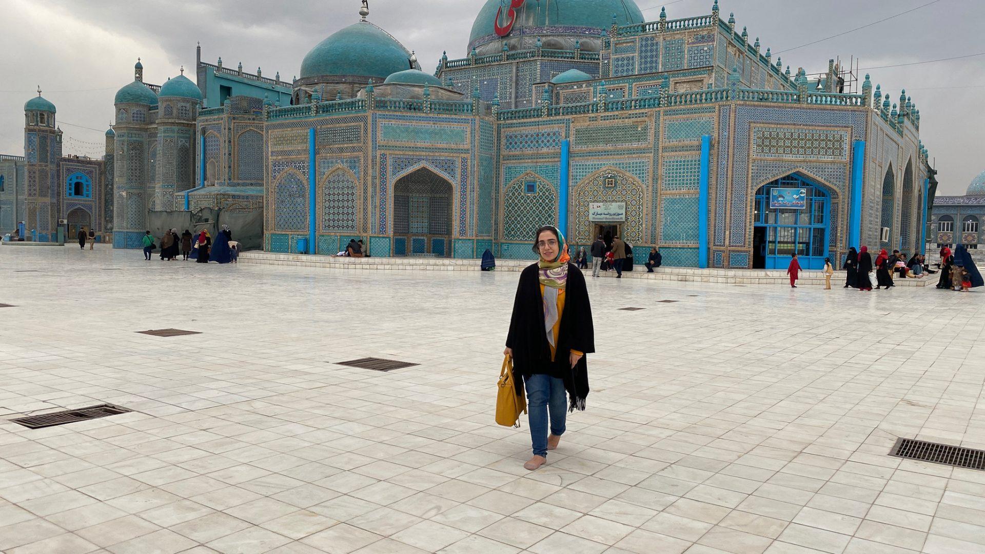 Narges at the Shrine of Hazrat Ali, Mazar-i-Sharif.